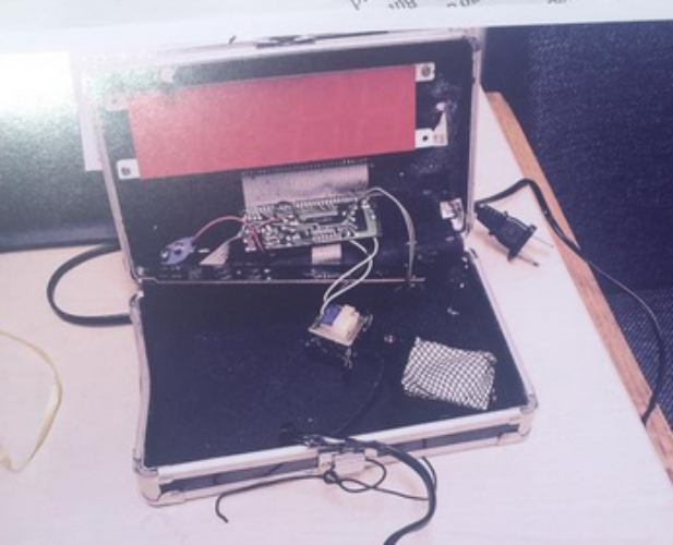 Photo of Ahmed Mohamed's clock (as reported by twitter poster  @naheedrajwani