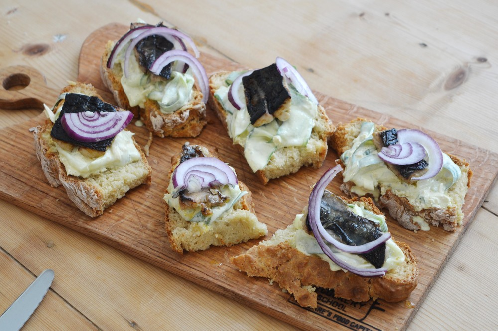 Soda Bread with pickled Mackerel