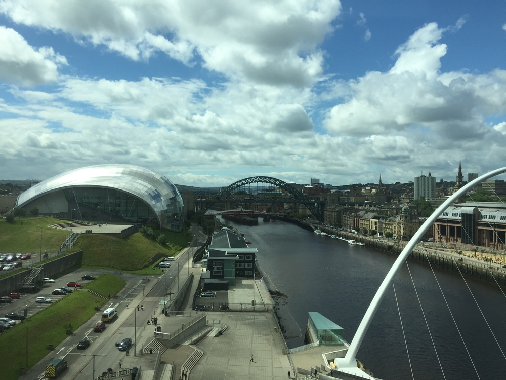 The Sage Gateshead on the left, as seen from the top floor of The Baltic Contemporary Art Gallery