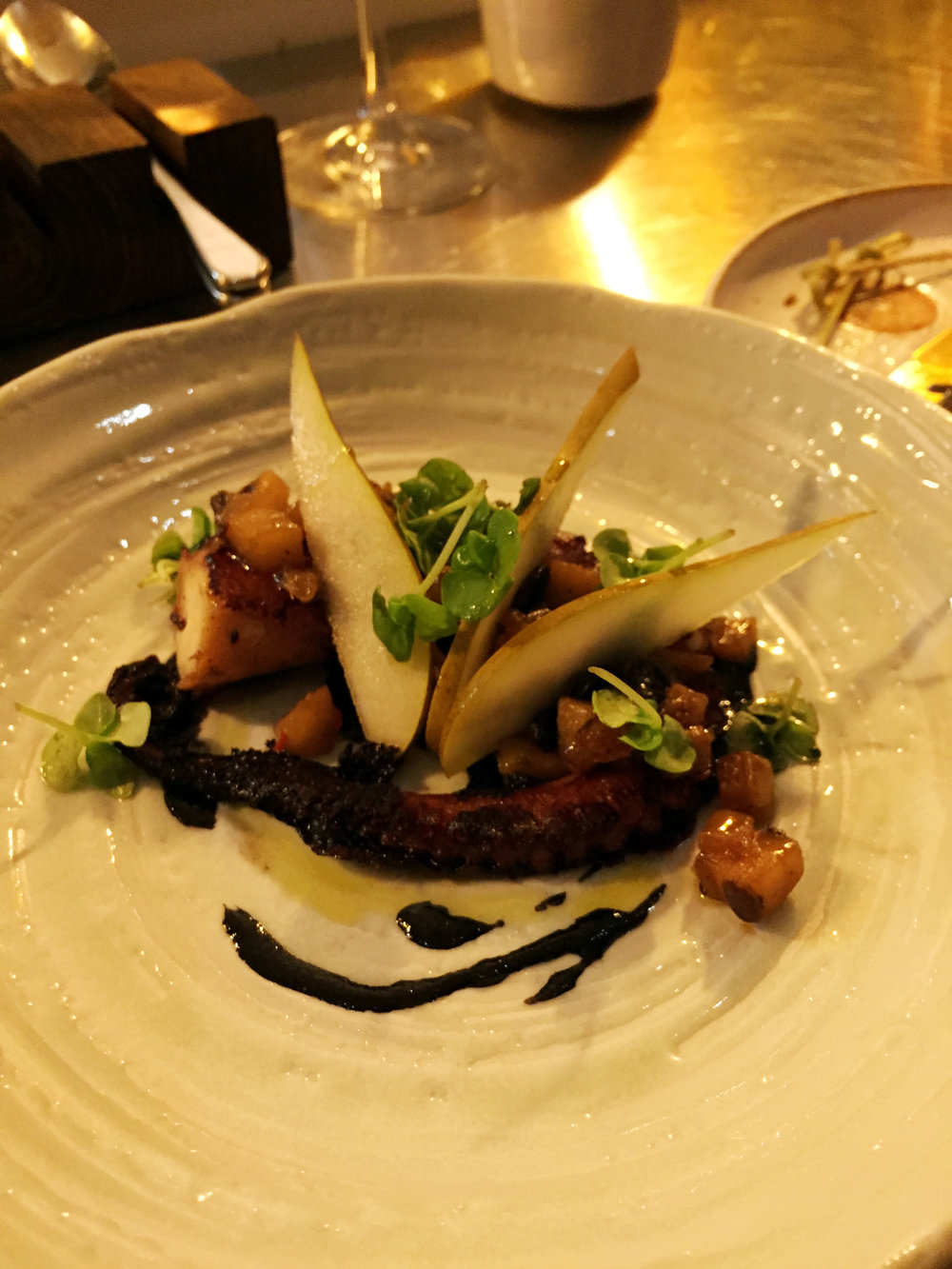 BBQ Octopus, Pear and Blackbean