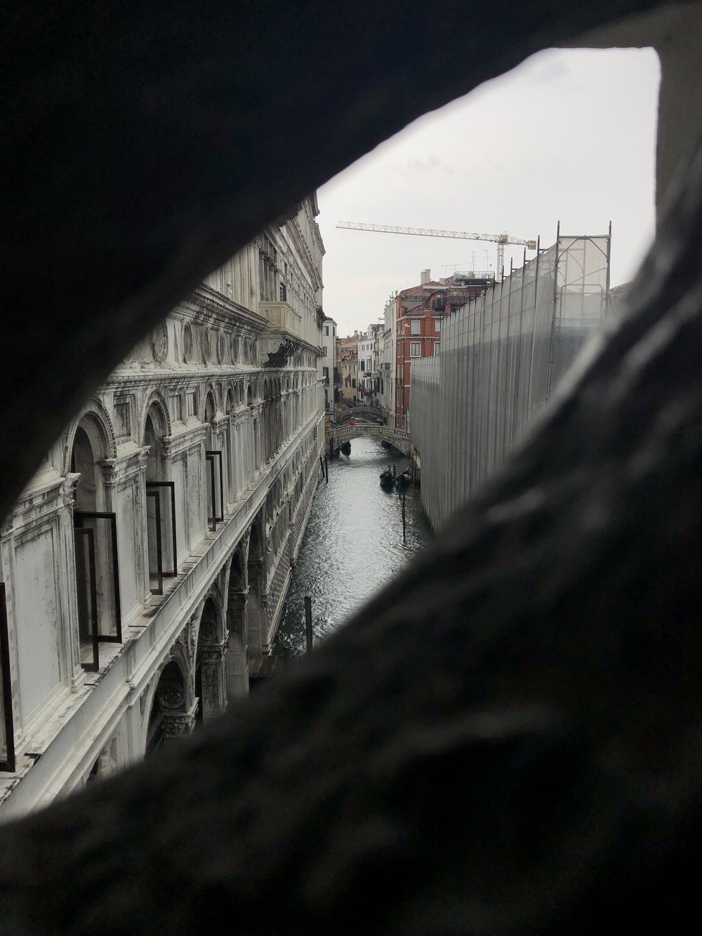 View from the Bridge of Sighs, built in 1614 to link the Doge's Palace to the structure intended to house the New Prisons.