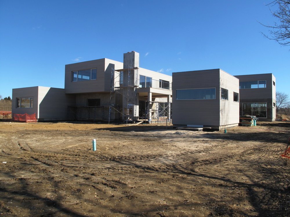 Exterior progress view on this JTA designed home located in Sagaponack, NY.