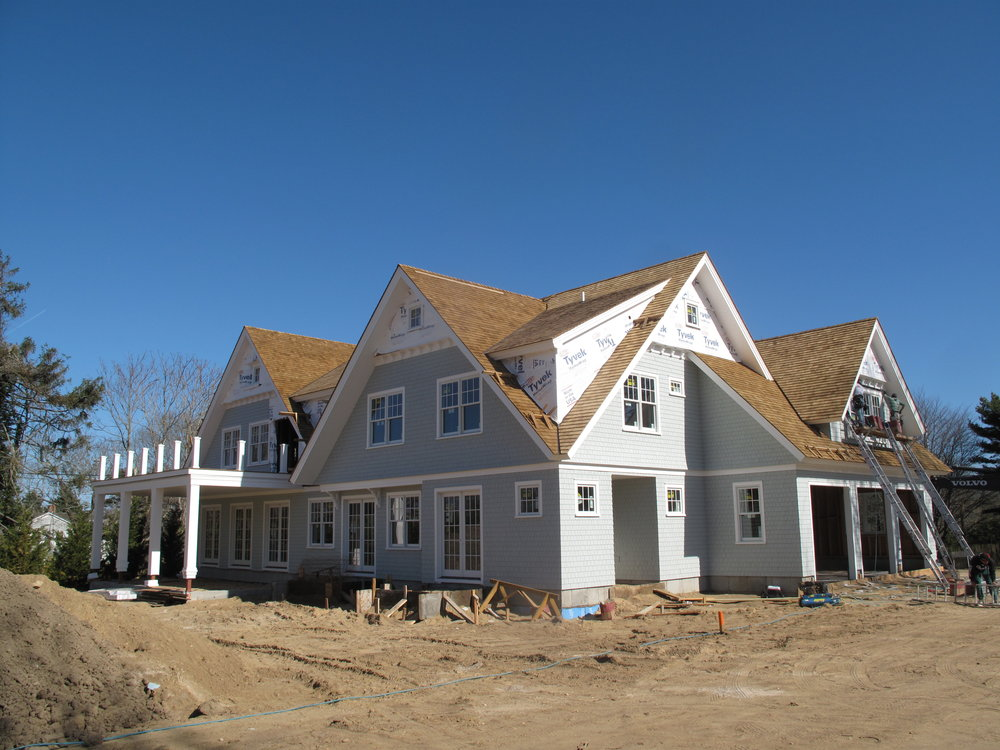 Siding on this traditional style home in Southampton, NY revealed. Currently under construction. We have seen a great amount of progression in such a short time. Project is close to completion.