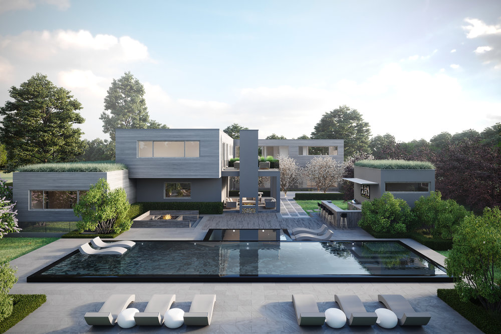 An incredible rear aerial view on this contemporary L-shaped plan residence situated in Sagaponack, NY