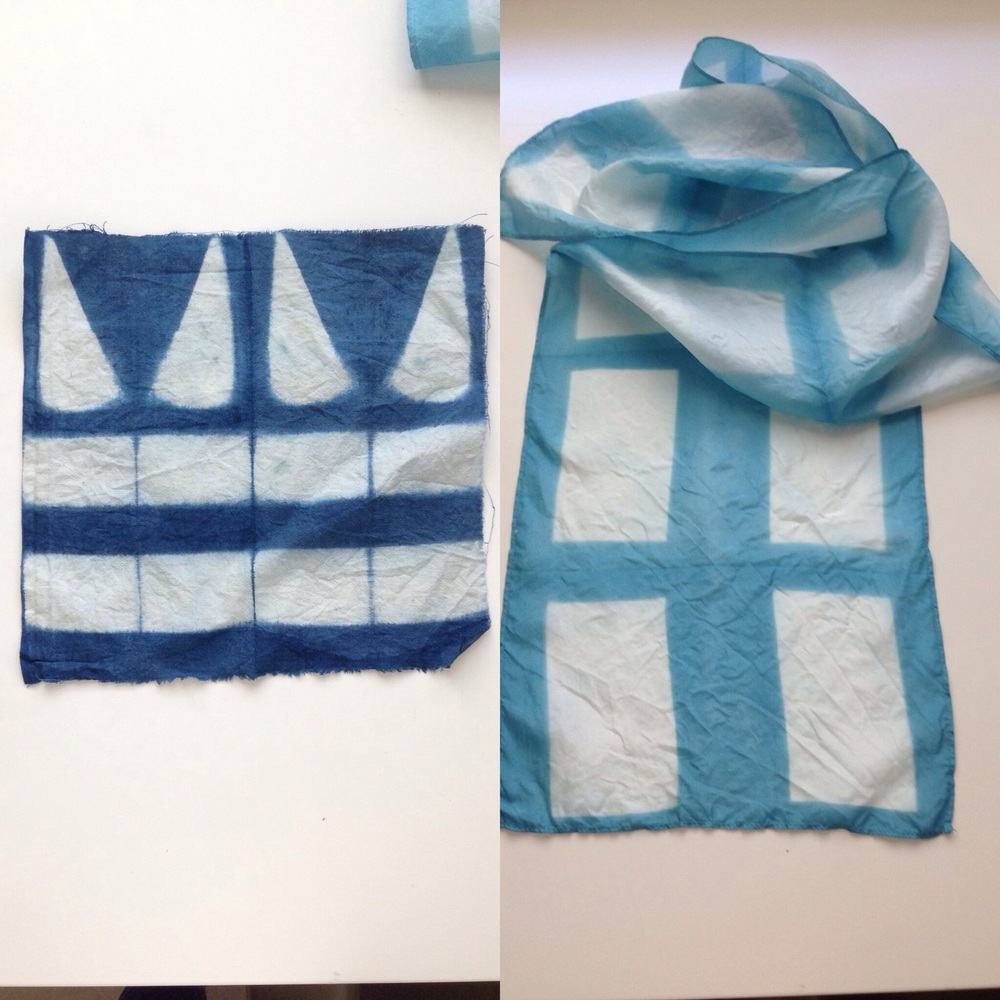 Left: my most successful sample using synthetic pre-reduced indigo. Right: my final scarf, silk dyed in fresh indigo.