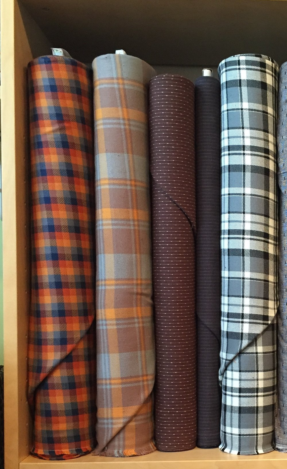 The black and white plaid would make up the cutest Phoebe by Colette, and the butterscotch mocha plaid would be a mighty fine Negroni!