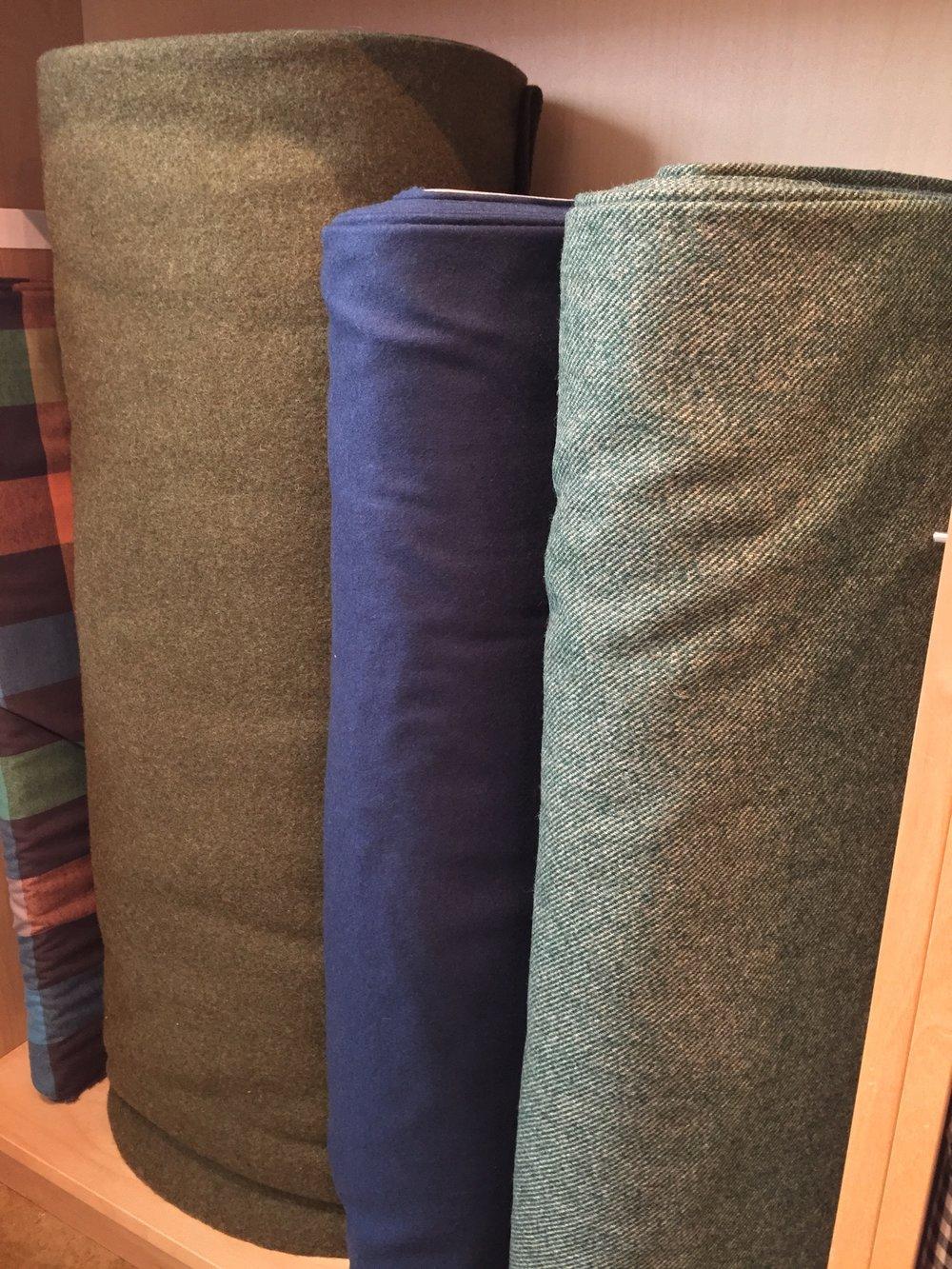 Wool blend coatings: olive, steel blue, bottle green twill.