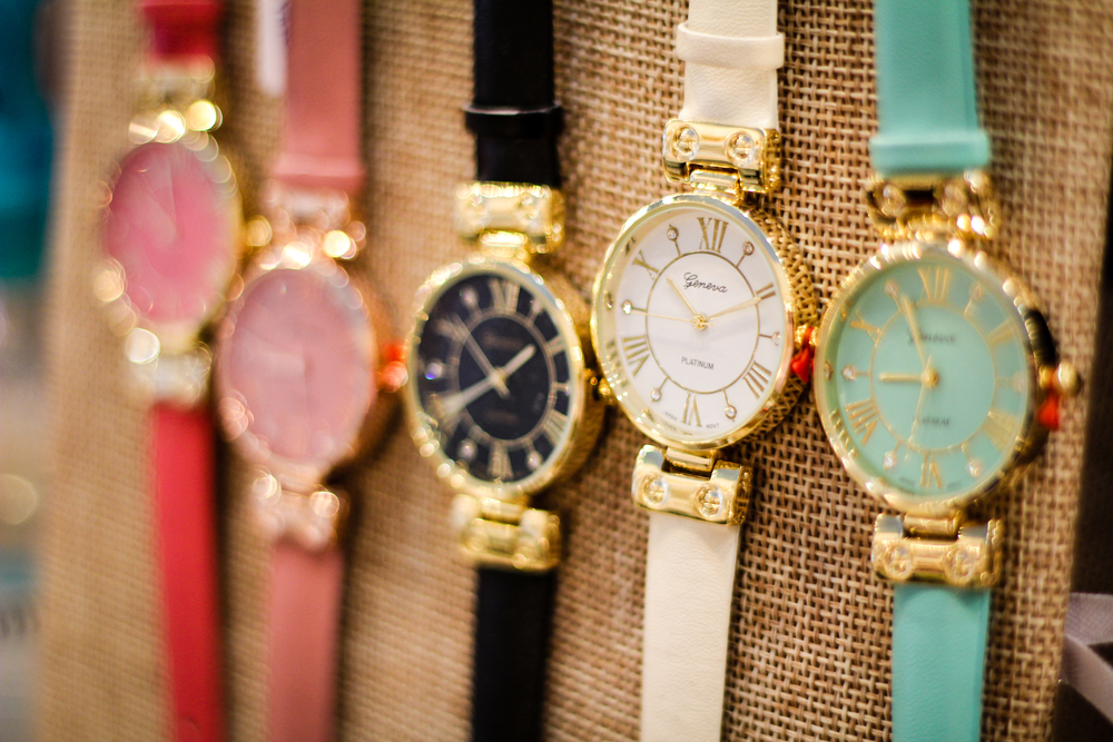 Colorful crystal watches-$36  These watches come in a variety of fun colors and are perfect for stacking with bracelets of all kinds.