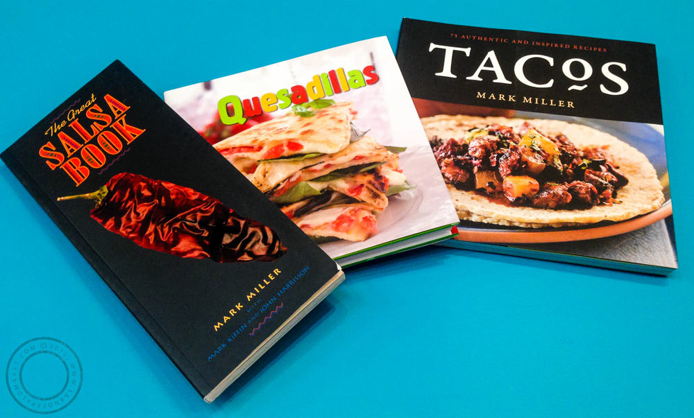 Shown cookbooks: The Great Salsa Book by Mark Miller-$16.99, Tacos by Mark Miller-$21.99, Quesadillas by Donna Kelly-$14.99