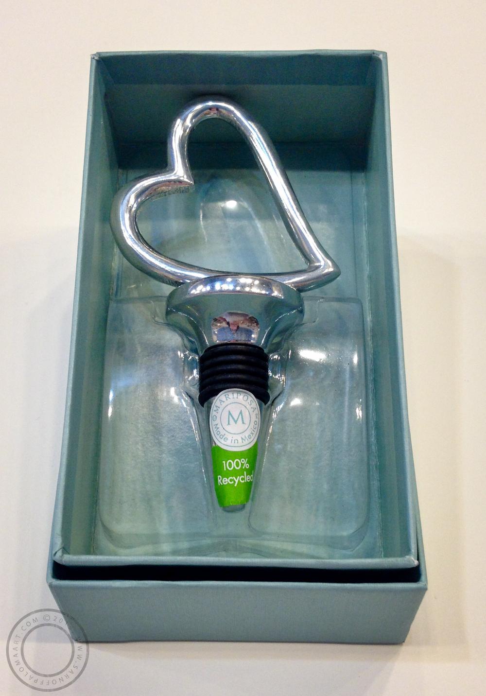 Mariposa silver heart wine stopper-$26