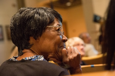 Mrs. Bea Gilmore at the   Vanport Mosaic   oral history screening at PCC on 12/5/2015. We shared her memories of life in Vanport and the day of the flood with an audience of 200 people. (Photo by Intisar Abioto)