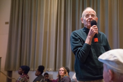 Mr. Drayden is a veteran and he shared his fond memories of attending Vanport College (now PSU) at Vanport Mosaic oral history screening at PCC on 12/5/2015. (Photo by Intisar Abioto)