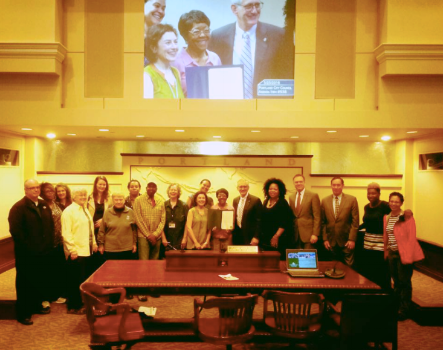 Representatives of the Vanport Mosaic with Mayor Charles Hales and Portland City Council declaring May 30th a Vanport Day of Remembrance.