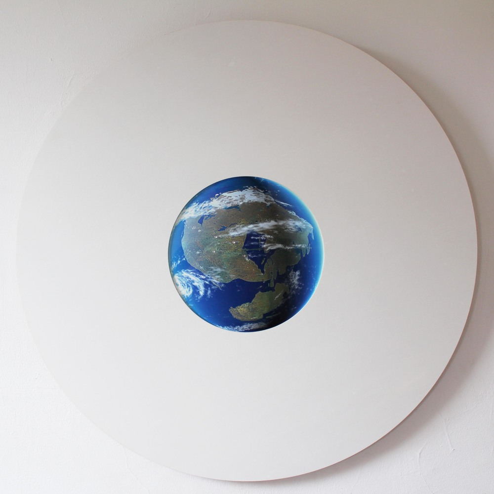 Deep Time, 2015. Lucite, print on aluminum, 33 inch diameter