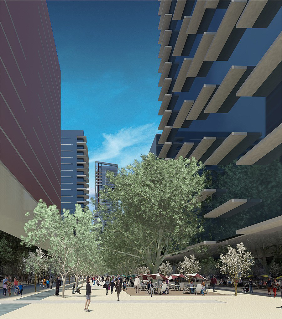 The 'Paseo' mediates between architectural and human scale along one of West 2nd's bustling commercial streets (the district features 750,000SF of office and retail space)