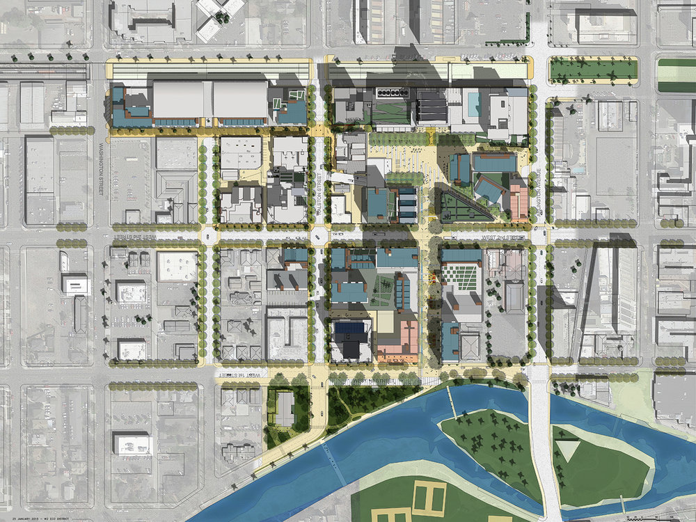 The West 2nd District Development Plan features an open space framework that connects people to each other and their environment