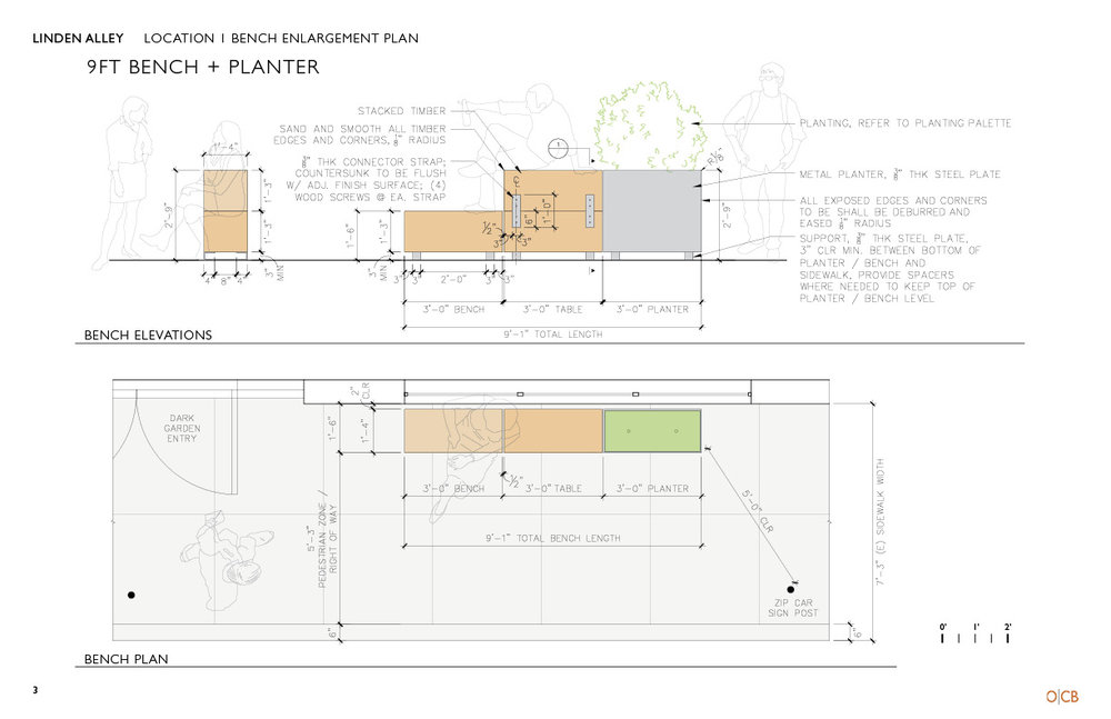 Construction and layout plans for the custom benches