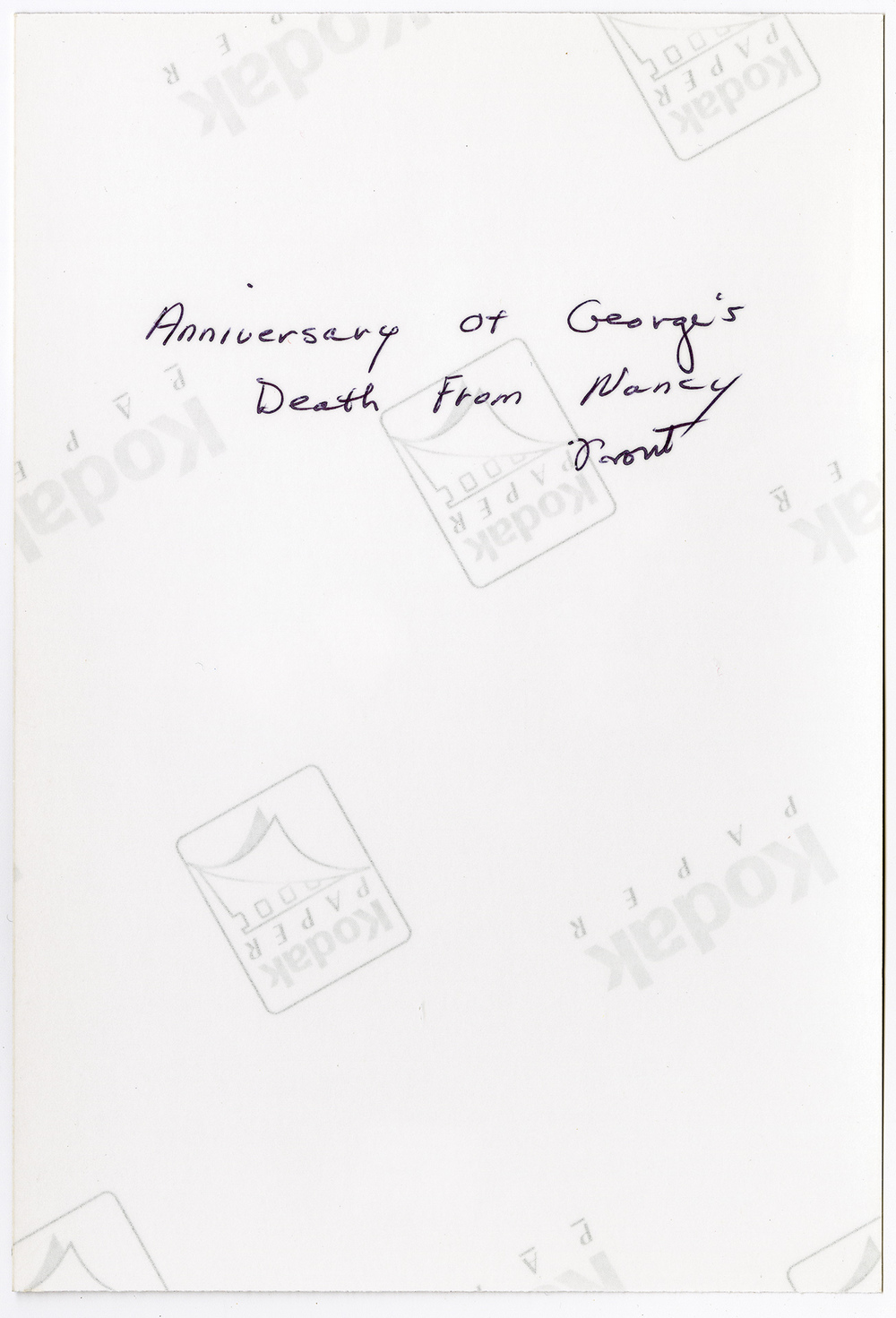 Anniversary of George's Death