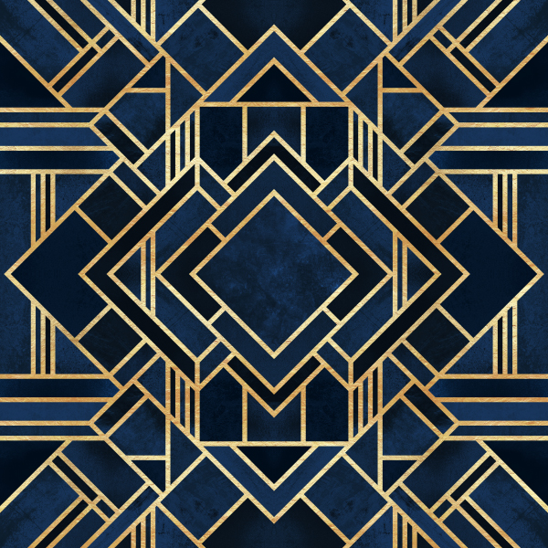 Art Deco Fancy Blue