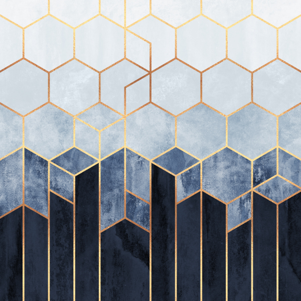 Soft Blue Hexagons