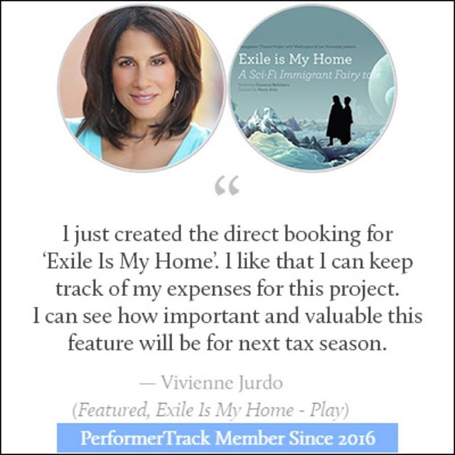 Congrats to @PerformerTrack Member @VivienneJurdo on her booking! Read what she has to say about her success using #PerformerTrack. #actor #actorbusiness #organizedactor #actorsoffice #viviennejurdo #exileismyhome #performertrackdoesitforyou