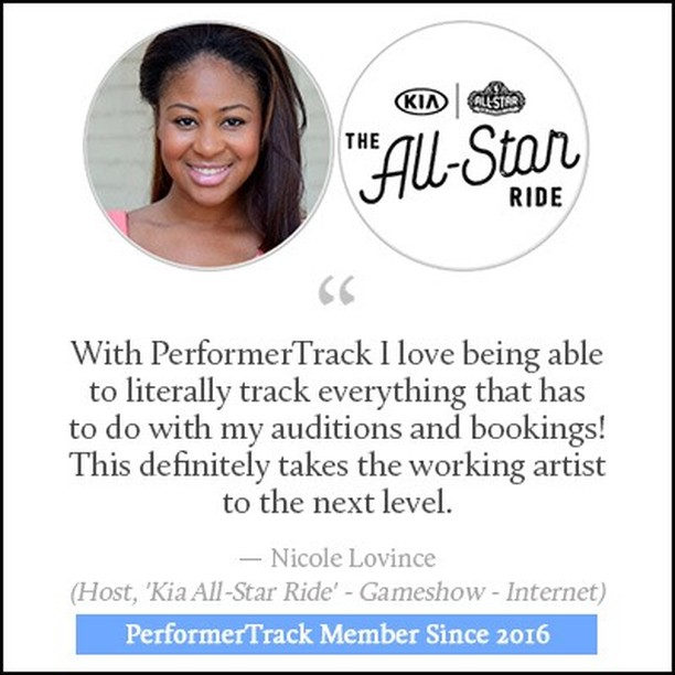 Yes! #PerformerTrack works for all types of performers including HOSTS! #actorlife #performerlife #hostlife #performertrack #bookthejob #auditions #kia #allstarride #nicolelovince
