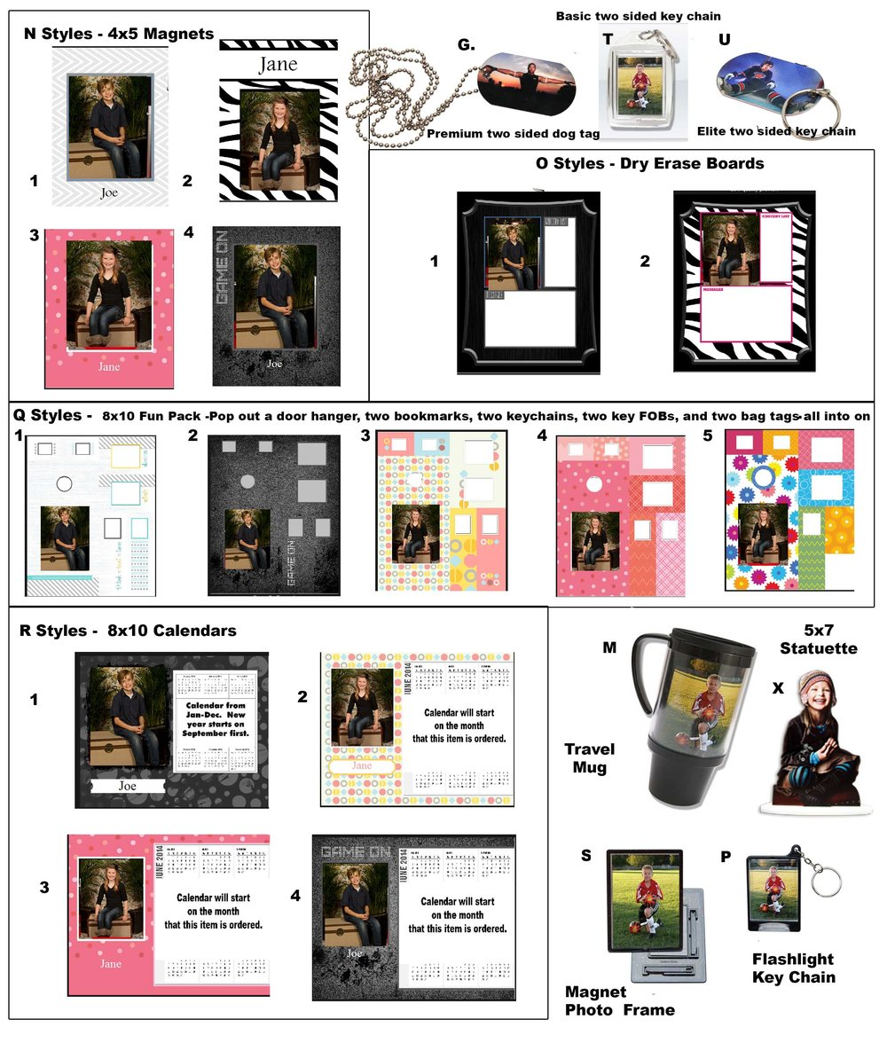Here are pictures of the products on the order form.