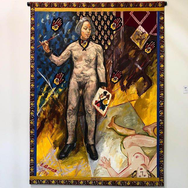 """Dig if you will this picture: the figure of a black woman stands, paintbrush in one hand, palette in the other, a freshly-painted canvas reminiscent of the style of Lucian Freud's nudes just to the right of her feet."" We can't think of a better way to spend #internationalwomensday than seeing Emma Amos's revolutionary work @thearmoryshow.  Run don't walk to see Amos's seminal self portrait in person! And then read more about Amos and her work in PINE, where @___niama___ explores, ""What does it mean for a black woman to question white male work and gaze and the respective valorization of each? To assert her own perspective in direct criticism of it? Amos was asking these questions decades before the popular critical lens had begun addressing such issues."" #pinemagazine #love #emmaamos #ryanleegallery #selfportrait #thearmoryshow #lucianfreud #bellhooks #intersectionalfeminism #everydayiswomensday #conecousins"
