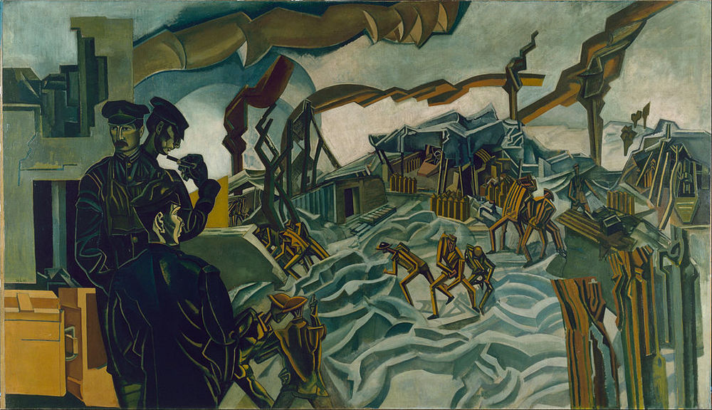 """A battery shelled"". Wyndham Lewis, 1919."