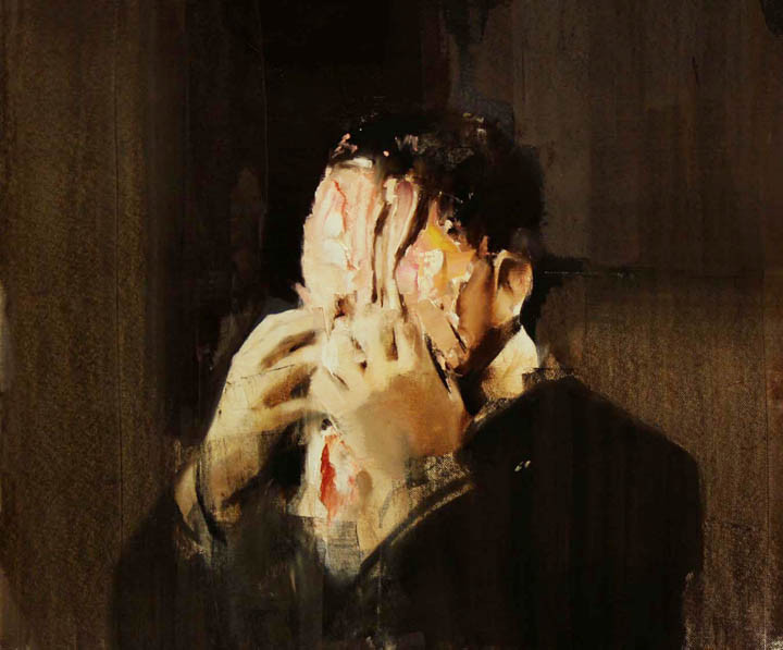 """Pie fight, study 2"". Adrian Ghenie, 2008."