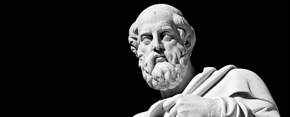 Plato. Roman marble sculpture, copy of a greek original from the 4th century.