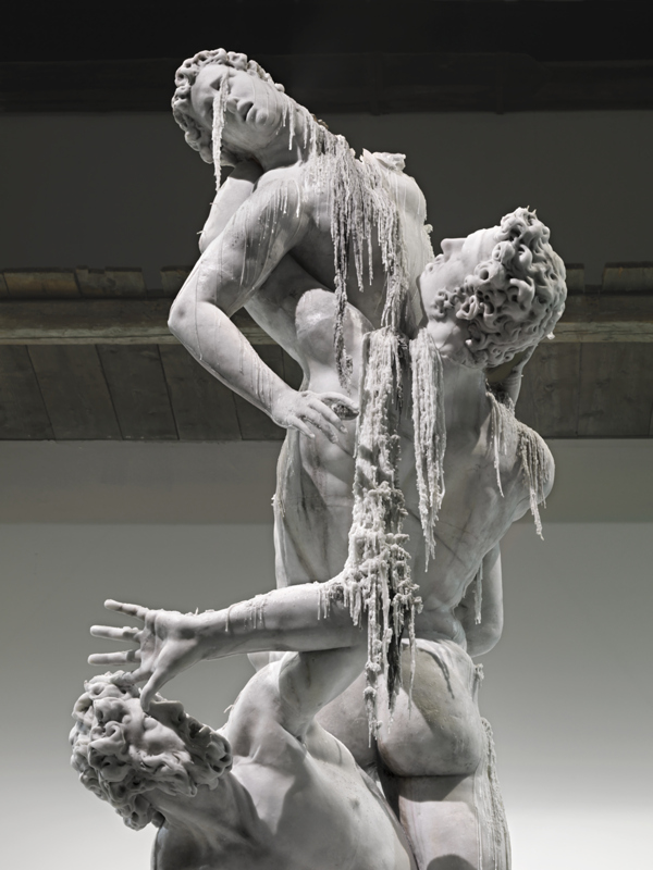 """Rape of the Sabine women"" replica in melting wax by Urs Fisher. 2011."