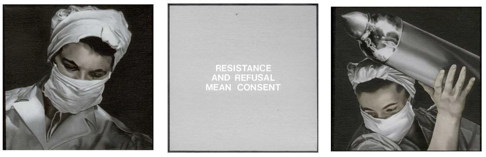 Resistência e recusa significam consentimento/enfermeiras. Óleo sobre tela. Dotty Attie, 2000.
