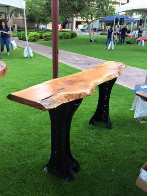 Wood Entry Table slab wood entry table — welded tree