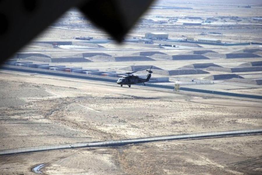 Helicopter leaving Kandahar, Afghanistan.