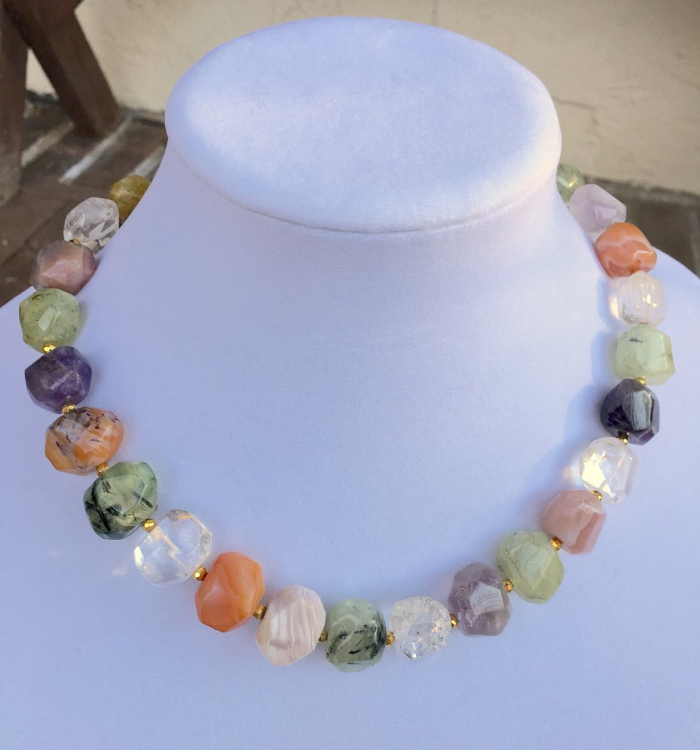 Multi Semiprecious stone NECKLACe  18 x 15 mm chunky faceted stone beads including amethyst, clear Quartz, prehnite, carnelian and agate. Gold Filled clasp.  20 in. $175