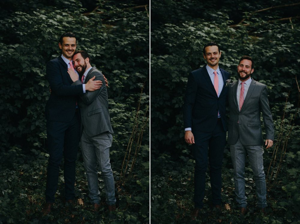 groom and best man embrace
