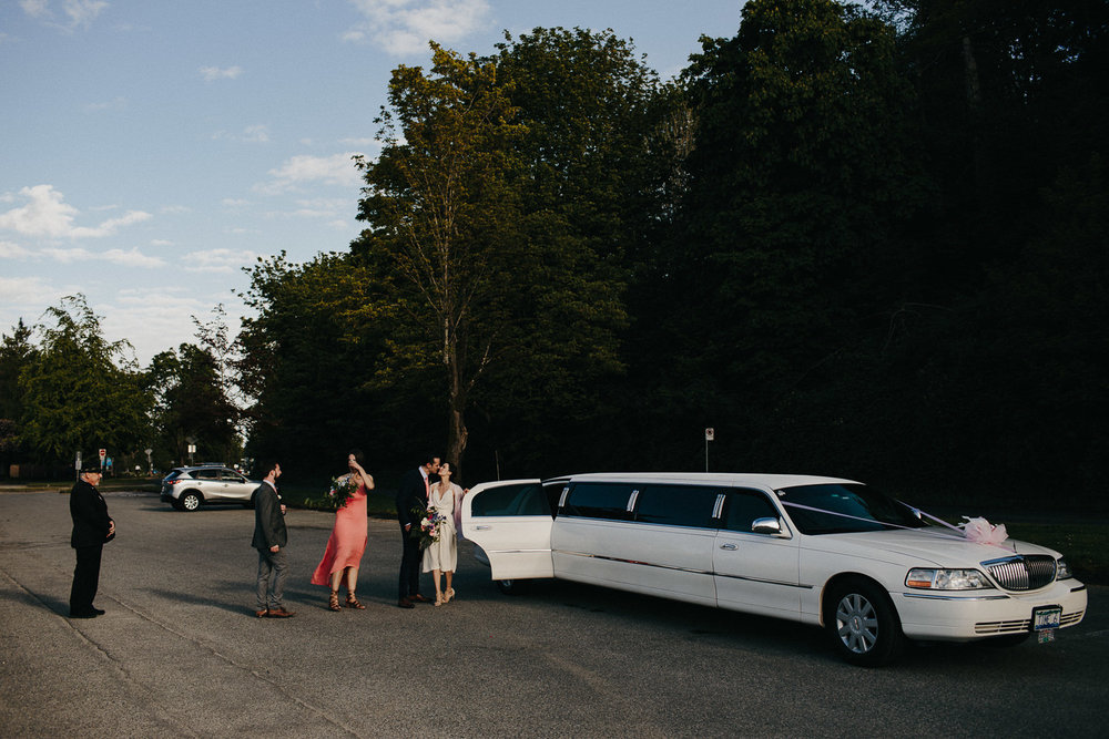 limo at vancouver beach wedding