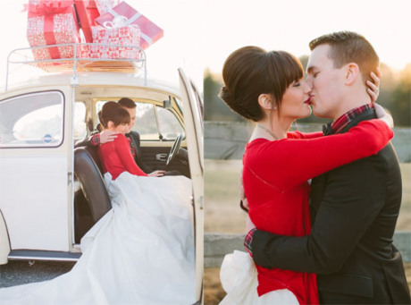 The Bright Red Cardigan From This Newly Wed Christmas Shoot Shot By Haley Sheffield Is Almost Too Stunning Paired With Glamorous Lipstick And