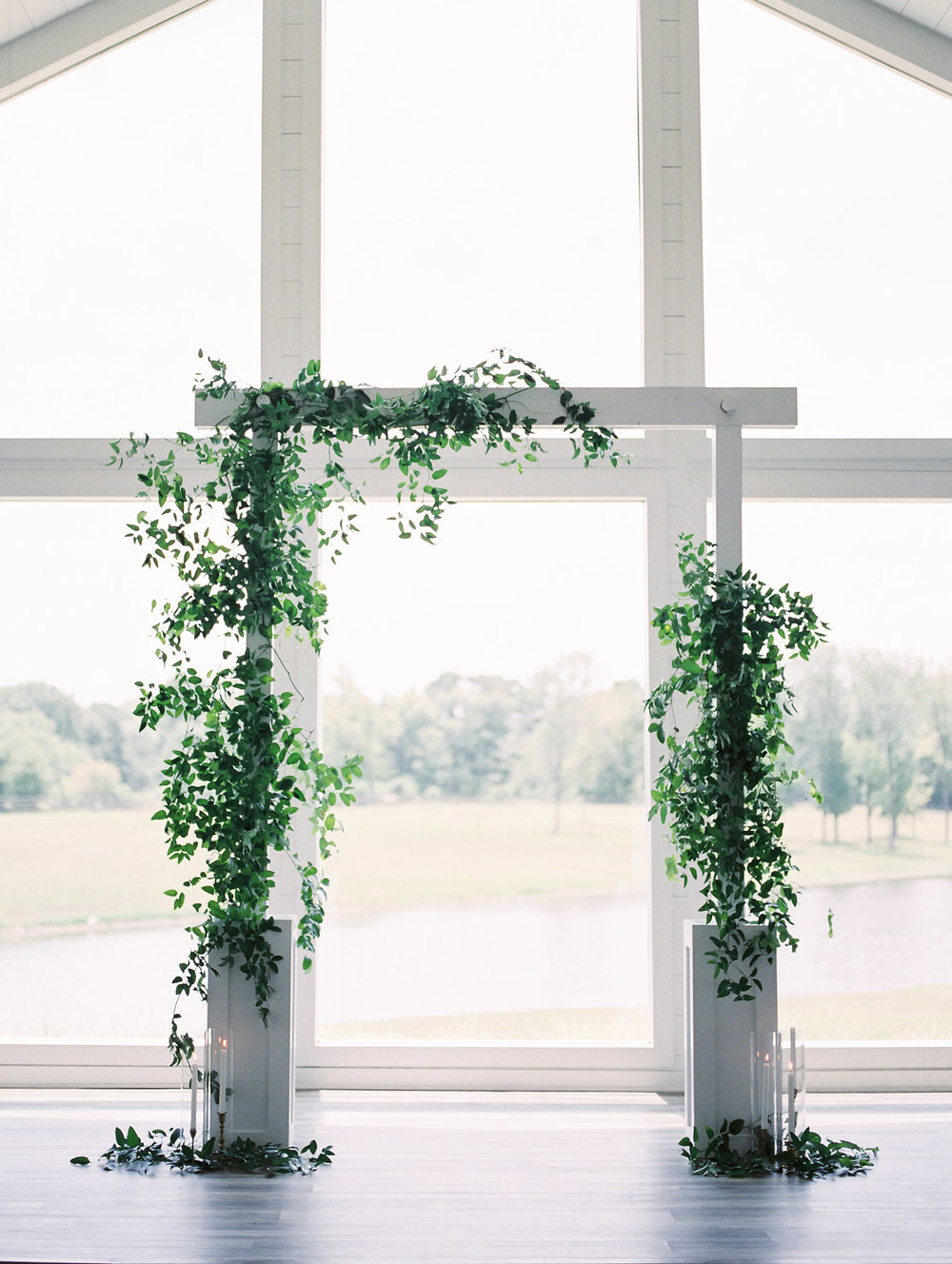 asymmetrical greenery + candles | $250+