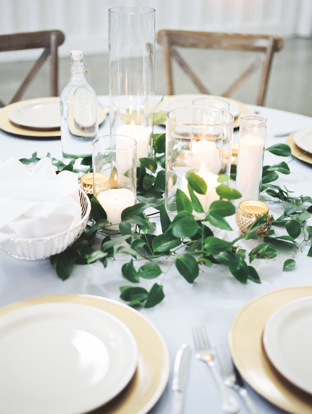 greenery + pillar candles | $40