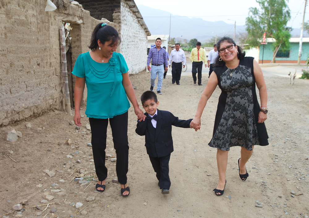 ZZ, her godson Samir and his mother on their way to the baptism