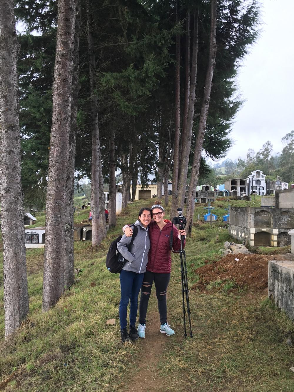 Lauren and Izzy filming at Dia de los Difuntos in Niepos, Peru.