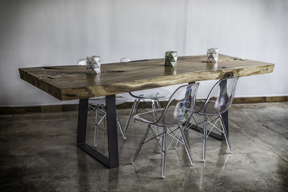 Wood Table with Metal base