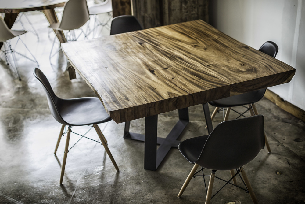 Square Wood Table with Metal base