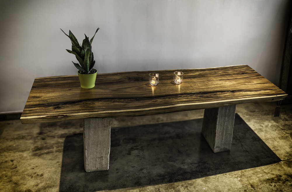 Wood Table with Stone base