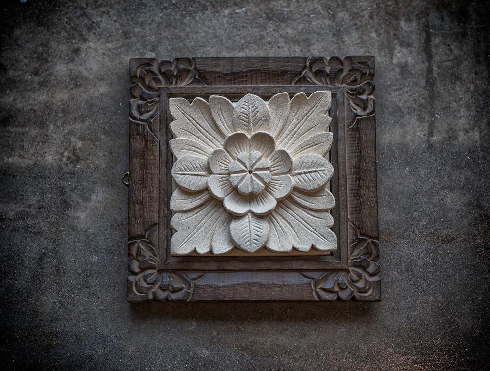 Limestone Carved Flower