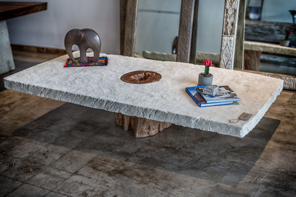 Square Stone Table with Wood base
