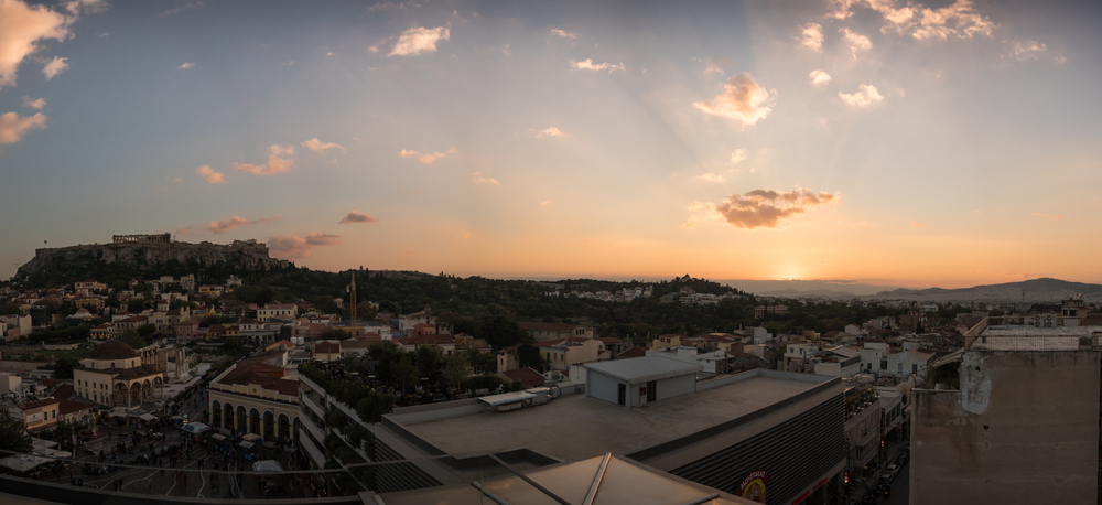 A sunset from the rooftop bar  A for Athens  .