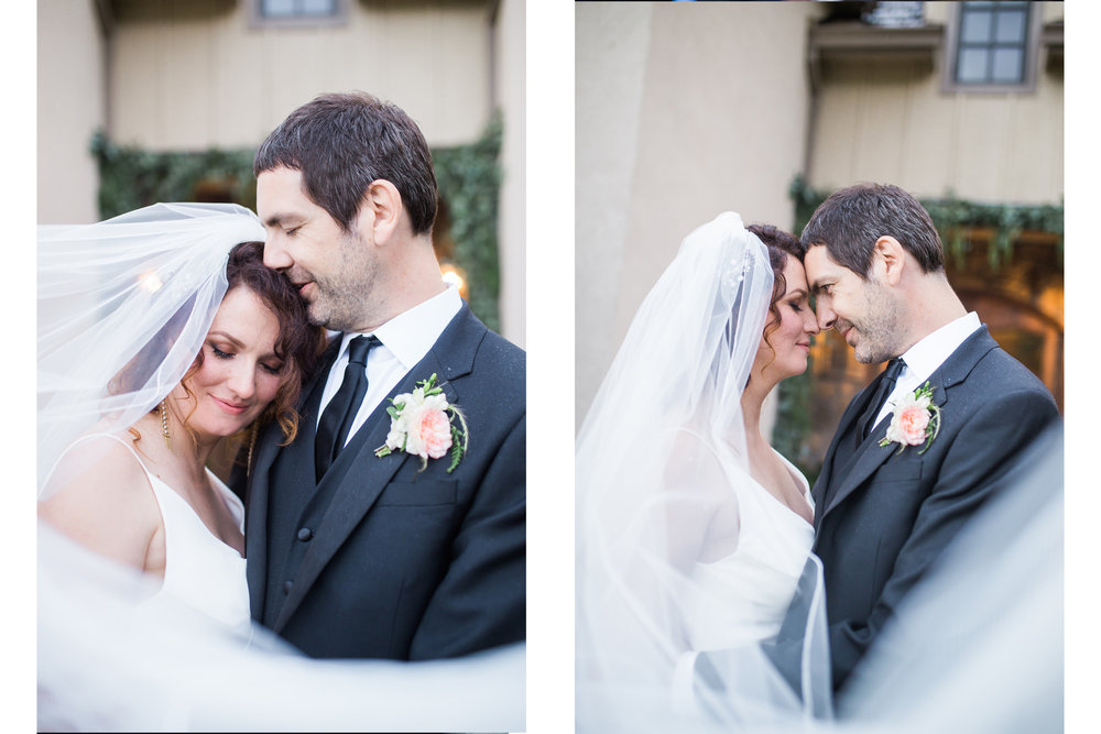 bridal portraits with cathedral veil